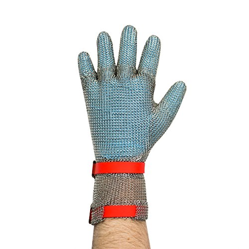Metal Mesh Glove (UltraSource Cut Resistant Stainless Steel Mesh Glove, Extended Cuff with Silicone Straps, Size Medium (One Glove))