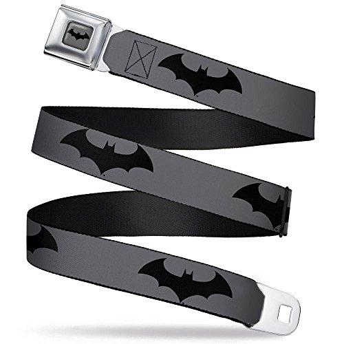 Buckle-Down Seatbelt Belt - Retro Bat Logo Gray/Black - 1.5