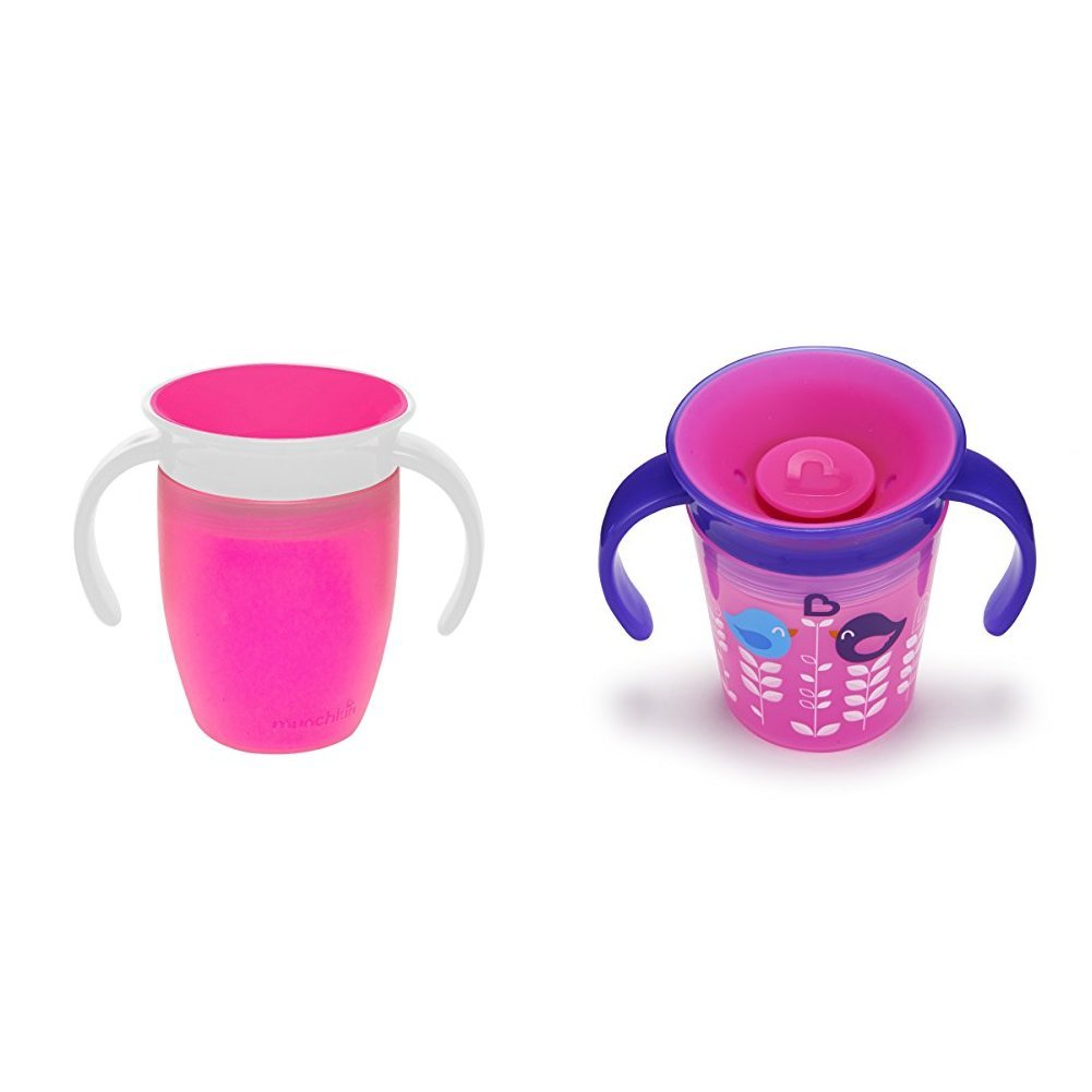 Munchkin Miracle 360 Trainer Cup, 177 ml/207 ml, Pink/Birds, Pack of 2