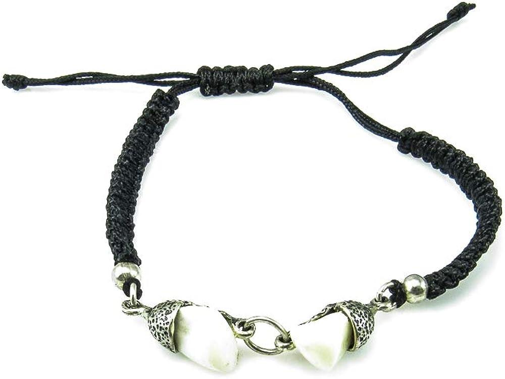 Minoplata Pulsera Hilo Ajustable con Plata y Perlas de Ciervo una Joya Unisex para Amantes de la joyería cinegética
