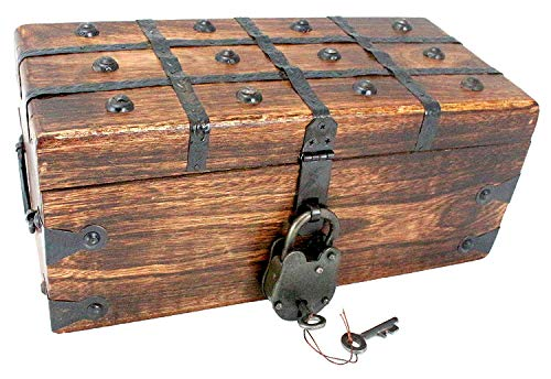 "- Treasure Chest Pirate Large 12"" x 6"" x 5"" Wooden Locking Party Toy Box Nautical Accessory for Kids by Well Pack Box"