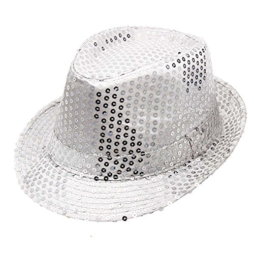 HTDBKDBK Sequined Hat Hat Hat Dance Stage Show Performances White -