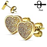 Sand Glitter Heart Stud 316L Surgical Steel Fashion Earrings / Unique Gifts and Souvenir (Gold)