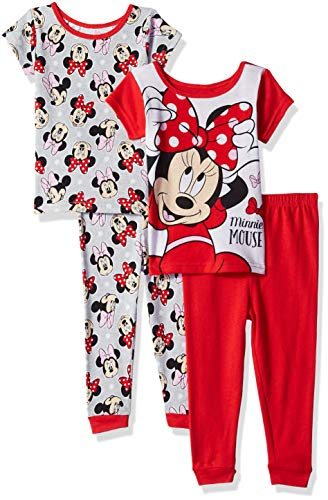 Disney Girls' Toddler Minnie Mouse 4-Piece Cotton Pajama Set, Proper red, 4T