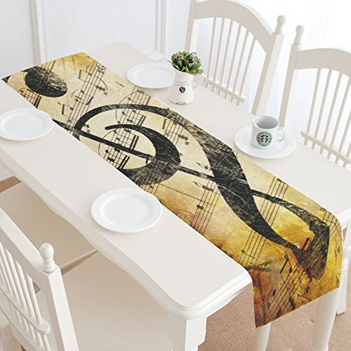 InterestPrint Vintage Music Note Cotton Table Runner Placemat 14 x 72 inch, Autumn Melody Notation Table Linen Cloth for Office Kitchen Dining Wedding Party Home Decor by InterestPrint