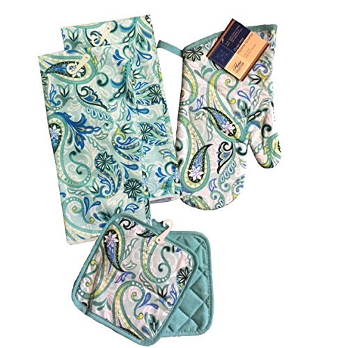 Kitchen Linen Set (Includes: one oven mitt, two pot holders and two dish towels) (Paisley Teal) (Dish Paisley Cotton)