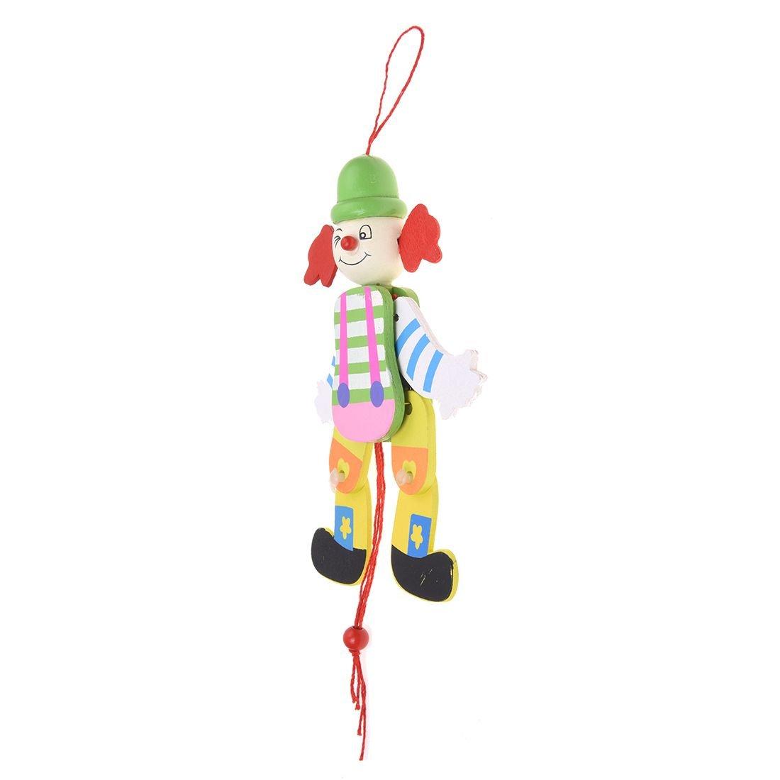 Couleur aleatoire Clown Corde de traction Jouet en bois Bras Jambes monter et descendre Jouets d enfants R TOOGOO