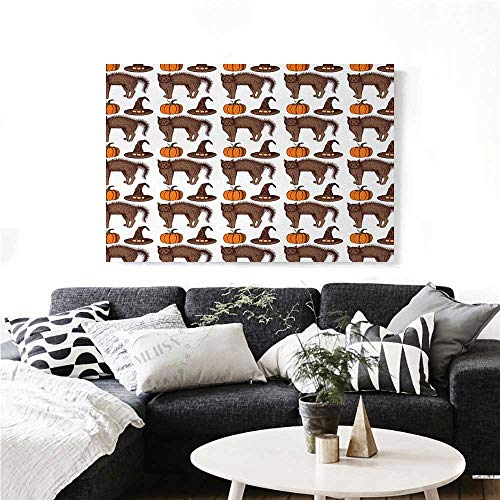 (homehot Halloween Canvas Wall Art for Bedroom Home Decorations Seasonal Vintage Pattern with Pumpkin Squash Witch Hats and Cat Figures Art Stickers 20