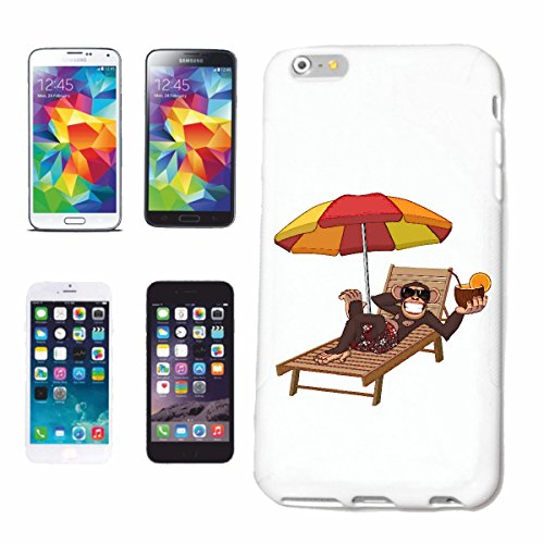 """cas de téléphone iPhone 7S """"MONKEY FUNNY AVEC COCKTAIL EN NOIX DE COCO ET CHAISE LONGUE PARASOL MONKEY MONKEY GORILLA CHIMP SILVER RETOUR APE CHARLY MONKEY KING KONG"""" Hard Case Cover Téléphone Covers"""