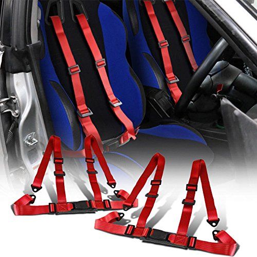 ng Seat Belt Harness Buckle 2 Inch Wide Nylon For Honda Civic Accord Toyota Corolla Subaru Mitsubishi Nissan Scion Infiniti Mazda Acura Integra (Red) (Car Racing Seats)