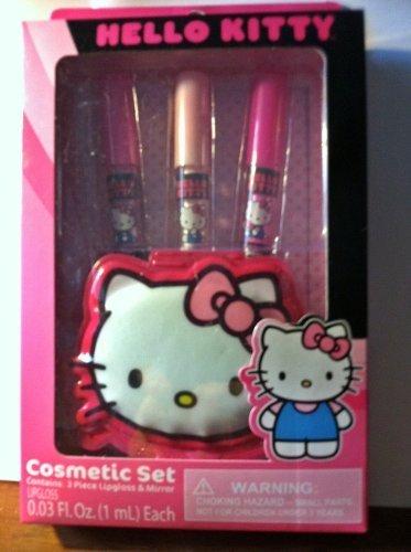 HELLO KITTY 4 pc Lip Gloss and Mirror Cosmetic (Raspberry Strawberry Lip Gloss)