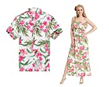 Made In Hawaii Premium Couple Matching Shirt Off Shoulder Dress Floral White Pink Floral M-L
