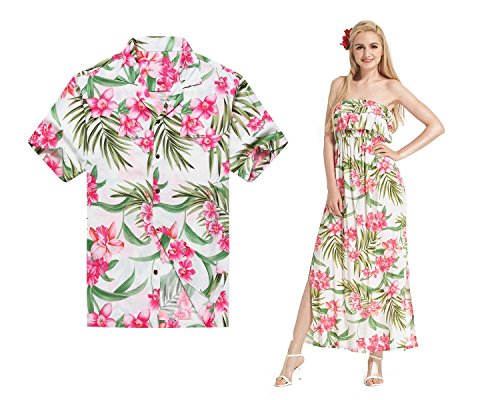 Made In Hawaii Premium Couple Matching Shirt Off Shoulder Dress Floral White Pink Floral M-S by Hawaii Hangover