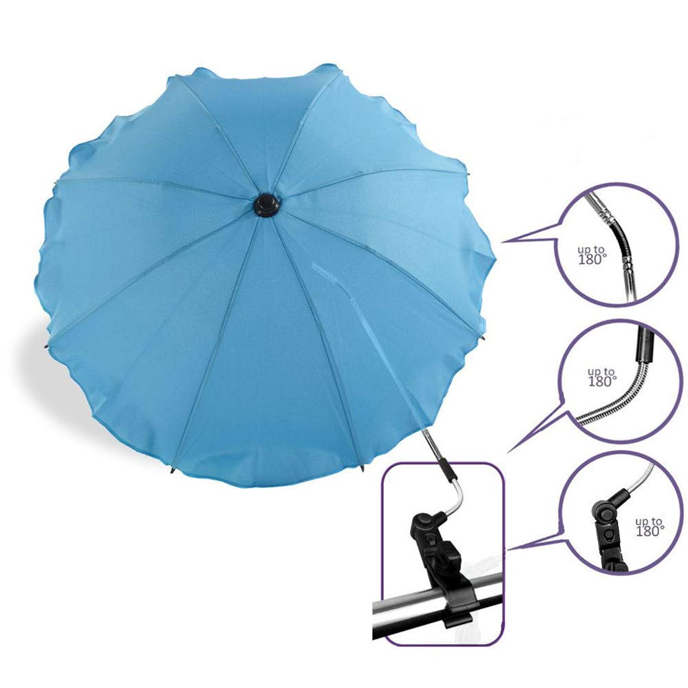 Parasol Umbrella for Baby, Sunshade and Sleep Aid for Pushchairs, Universal Fit and Blocks Up to of UV, Multi-Color Optional,Blue by ACOMG (Image #2)