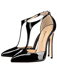Sophimaso Women's T-Strap Pointed Toe Solid Ankle Strap Buckle High Heels Patent Leather Pumps