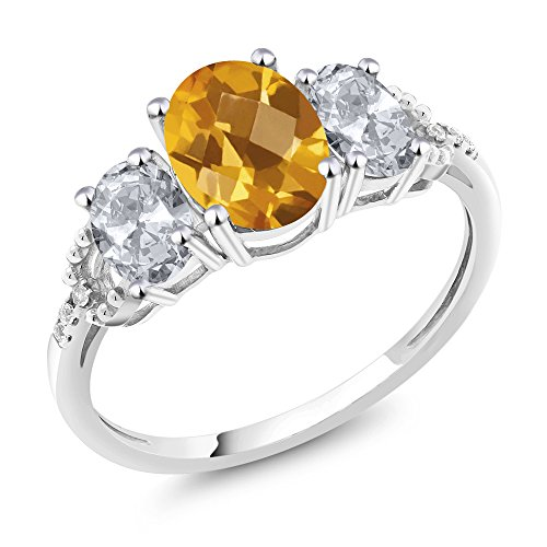 10K White Gold Diamond Accent Three-Stone Engagement Ring set with 2.30 Ct Checkerboard Yellow Citrine White Topaz (Ring Size 9) (Checkerboard Yellow)