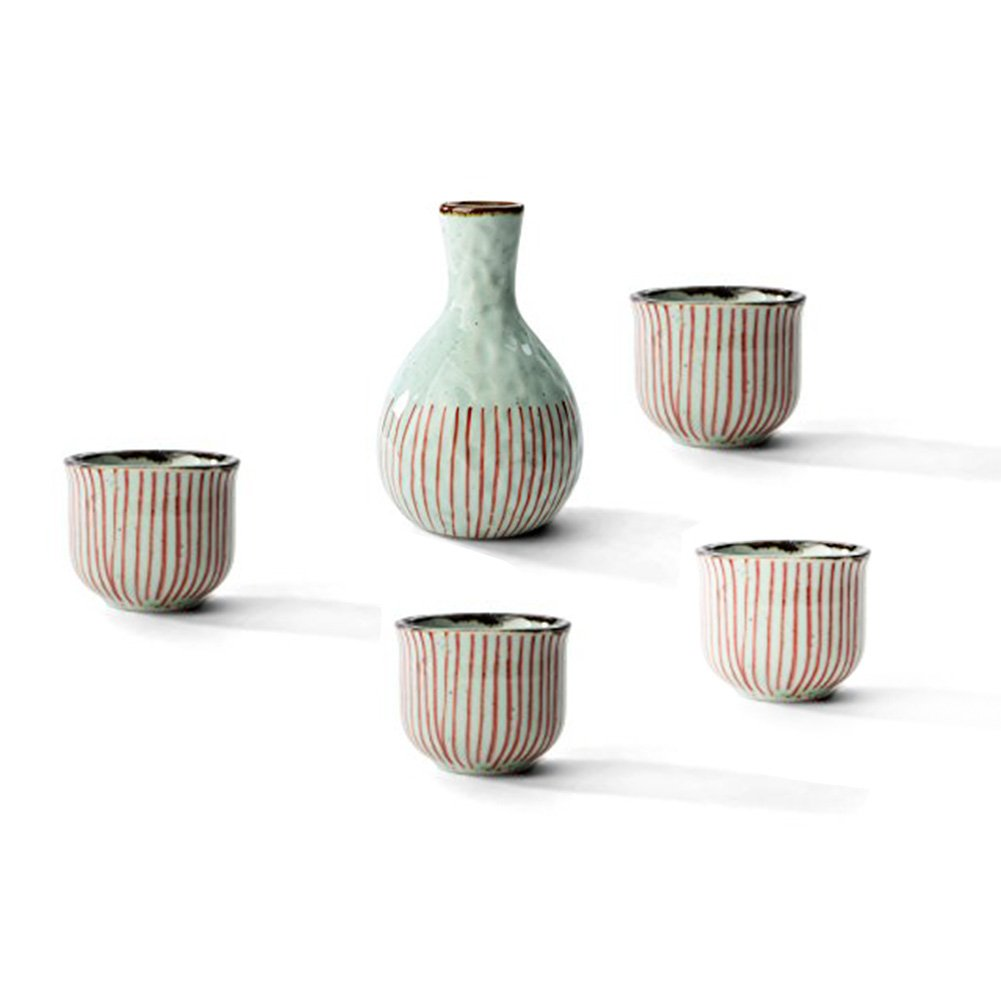 Beautiful Gift A Set of Japanese 1 Sake Wine Pot with 4 Clear Wine Cups(Red String Series)