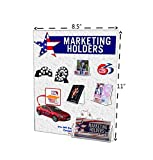 Marketing Holders Wall Mount Acrylic Sign Holder Combination No Holes for 8.5x11 Sign & Business Card Pocket, 8.5'' x 11'', Lot of 80