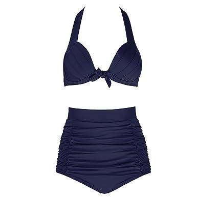 74d99bb353 Maillot de Bain Femme 2 Pieces Solide Taille Haute Grande Taille Bikini
