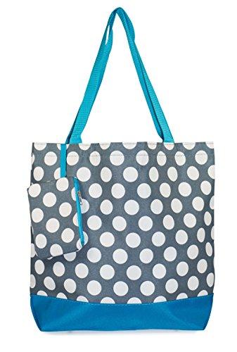 Ever Moda Polka Dot Tote Bag (Blue) ()