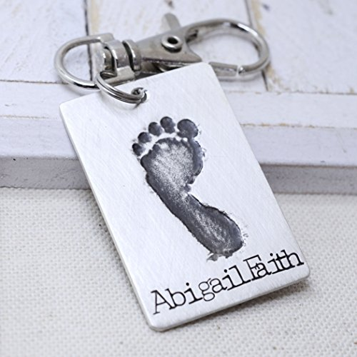 Sterling Silver Key Chain Baby's Actual Footprint - New Mom Dad Gift - Personalized Keepsake - New Baby - Father's Day Mother's Day Gift by Love It Personalized