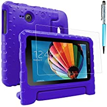 Protective Case for Samsung Galaxy Tab E Lite 7.0 with Screen Protector and Stylus, AFUNTA Convertible Handle Stand EVA Case, PET Plastic Cover and Touch Pen for Tablet 7 Inch - Purple