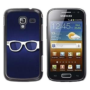 TECHCASE**Cubierta de la caja de protección la piel dura para el ** Samsung Galaxy Ace 2 I8160 Ace II X S7560M ** Glasses Hipster Eye White Blue Symbol