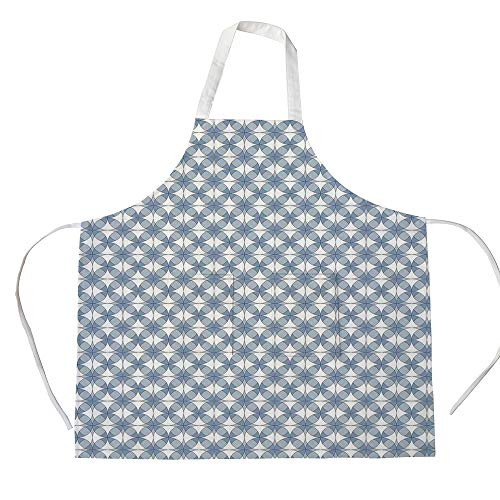 iPrint Cotton Linen Apron,Two Side Pocket,Geometric,Entwined Complex Circular Shapes Optical Abstract Modern Style Pattern,Slate Blue Blue White,for Cooking Baking ()