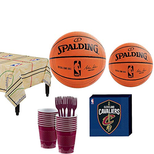 Party City Cleveland Cavaliers Party Kit and Supplies for 16 Guests, Includes Table Cover, Plates and -