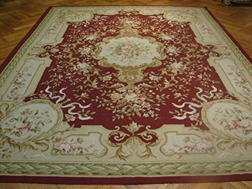 18th Century Rugs - 9x12 Maroon Floral French 18th Century Handmade Aubusson Area Rug