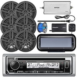 "Kenwood KMRD372BT Marine CD Bluetooth Receiver, Radio Cover, 6x Enrock Marine 2-Way 6.5"" Speakers (Black), Enrock 4-Channel Marine Amplifier, SiriusXM Tuner, Marine Radio Antenna, Tinned Speaker Wire"