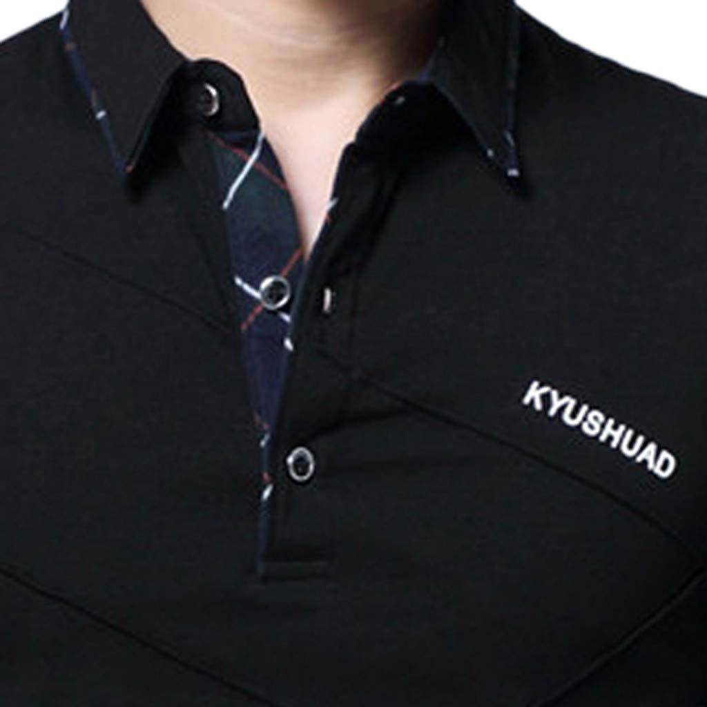 Men Spring Long Sleeve Top Blouse Business Long Sleeve Shirt Office Workwear Top Blouse YOcheerful Mens Black Shirt