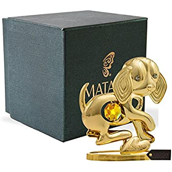 Matashi 24K Gold Plated Dog Tabletop Ornament with Crystals Elegant Showpiece Centerpiece Metal Dog Figurine Home Living Room Office Decor Gift for Christmas Birthday New Year Holiday Mother's Day