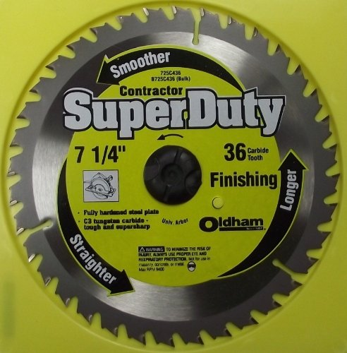 Oldham 725C436 Contractor 7-1/4-Inch 36 Tooth ATB Finishing Saw Blade with 5/8-Inch and Diamond Knockout Arbor