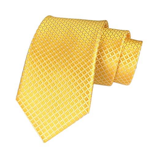 Men's Boys Gold Silk Ties Cravat Neckties Jacquard Woven Solid Color Plain Patterns
