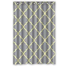 "FUNNYY 48""(Width)x 72""(Height) Polyester Waterproof Shower Curtain(Rideau de douche)With Gray Yellow Quatrefoil Treasuring Design by Quatrefoil Shower Curtain"