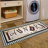 "laundry mudroom ideas USTIDE Vintage Style Laundry Room Waterproof Floor Runners Non Skid Kitchen Floor Mat Farmhouse Washhouse Mat Bathroom Rugs Non-Slip Rubber Area Rug (20""x48"", 1)"