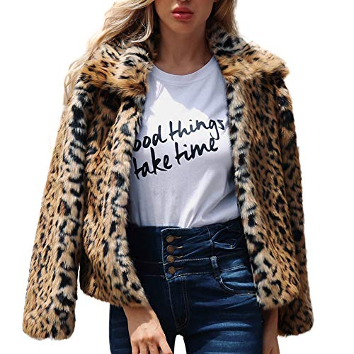 Faux Fur Coat, Misaky Women's Warm Leopard Print Jacket for sale  Delivered anywhere in USA
