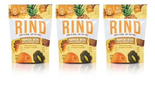 RIND Snacks Tropical Blend Peel-Powered Dried Superfruit, Orange, Pineapple, and Kiwi, No Sulfites, No Added Sugar, High Fiber, Antioxidant-Rich, Non-GMO, Gluten-Free, Vegan, 3oz, Pack of 3