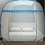 WP Mosquito Net Yurts Square Top Three Open Door Student Dorms Sleeping Bill 1.8m Bed , Blue - no bottom