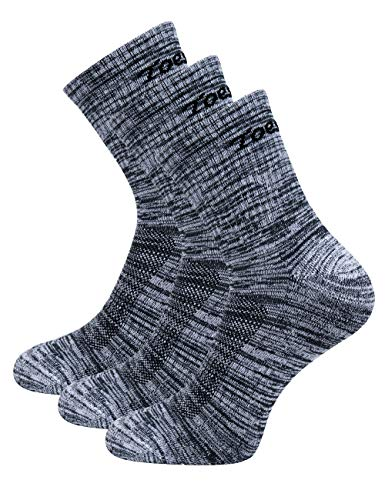 (Toes&Feet Men's 3-Pack Grey Anti Odor No Blister Quarter Cushion Sports Socks)