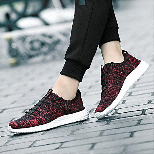 LUWELL Laufschuhe Breathable Fashion Sneakers Leichte Athletic Walking Schuhe für Männer rot