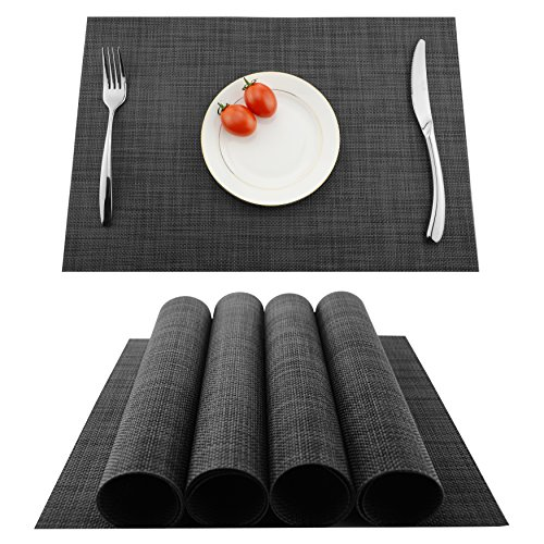 Placemats Heat-resistant Dining Table Place mats Anti-skid Washable PVC Kitchen Table Mats By KOKAKO ,Set of 4 (Dark Gray) by KOKAKO