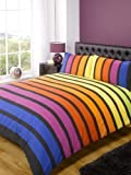Soho Multi Stripe Duvet Cover Quilt Bedding Set, Blue Purple Orange Yellow Green, Double Size - Bedroom Bed Linen by Rapport