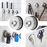 YOHOM 2Pcs Stainless Steel Suction Cup Magnetic Kitchen Knife Holder Removable Multi-use Neodymium Disc Magnets Key Hanger Rack Tool Storage Organizer for Scissor and Metal Utensils