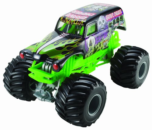 Hot Wheels Monster Jam Grave Digger Die-Cast Vehicle, 1:24 Scale, Black and Green -