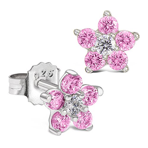 Garnet Pink & Topaz Earrings (Sterling Silver Flower Stud Earring with Simulated Birthstone CZ for Girls (October))