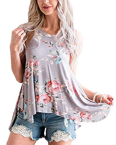 Barlver Women's Summer Tank Tops Floral Sleeveless High Neck Camis Shirts Flowy Halter Casual Tunic Blouse Grey