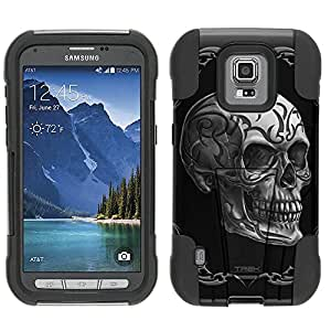 Samsung Galaxy S5 Active Hybrid Case Tattoo Skull on Black 2 Piece Style Silicone Case Cover with Stand for Samsung Galaxy S5 Active