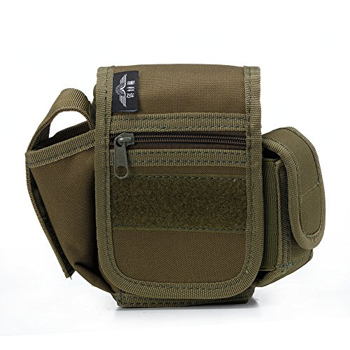 YAKEDA® Los hombres y las mujeres al aire libre convenientes bolsa pequeño paquete mochilas documentos paquete cartera Escombros bolsillos laterales llevan la manija de la correa de hombro - C88011 (v verde militar